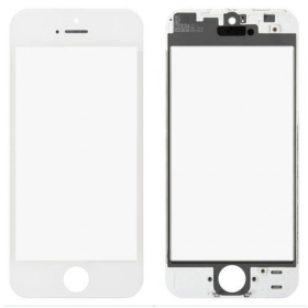 Apple iPhone 5 LCD ekrāna stikliņš ar rāmīti un OCA (balts) - OEM